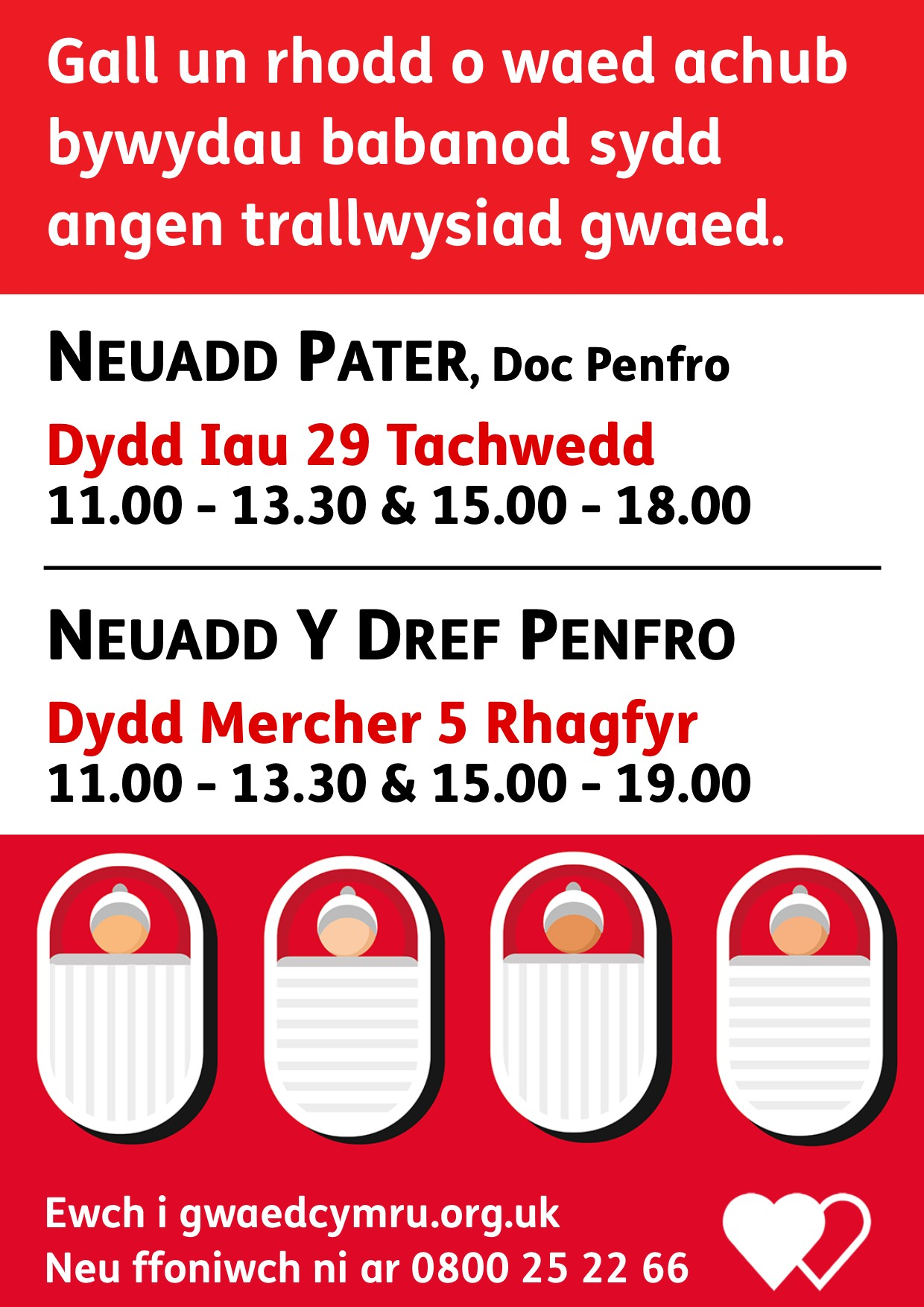 Blood Donation Sessions Nov-Dec 2018 Welsh
