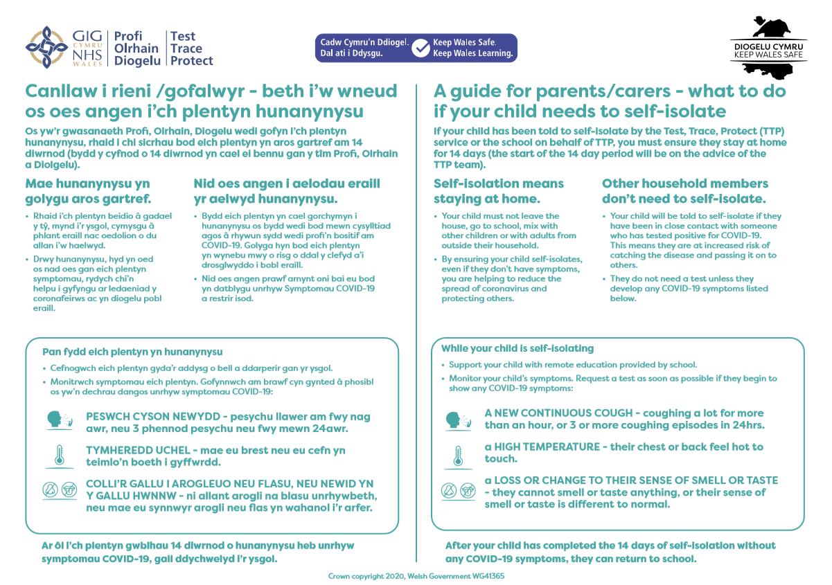 A Guide for Parents & Carers - What to do if Your Child Needs to Self-Isolate
