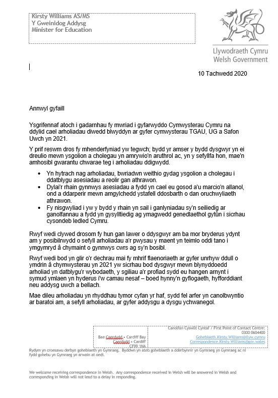 2020-11-10 Letter to Schools and Colleges Cym page 1